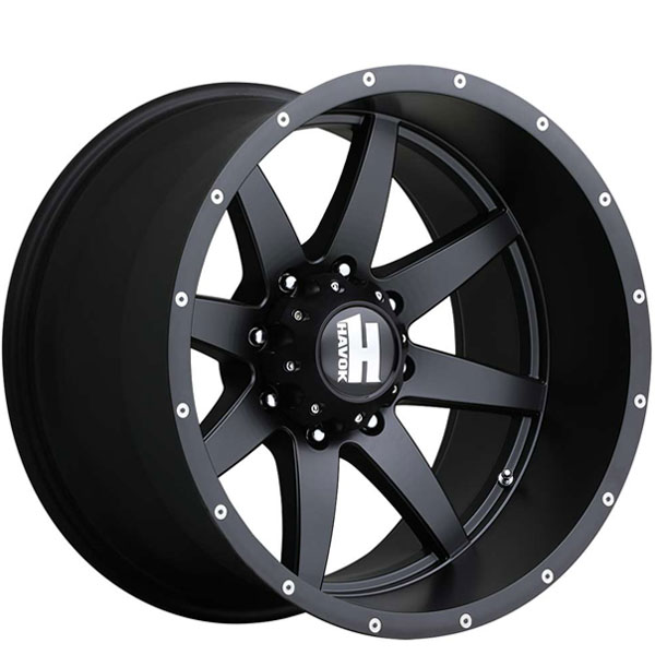 Havok Off-Road H112 Matte Black with Milled Rivets