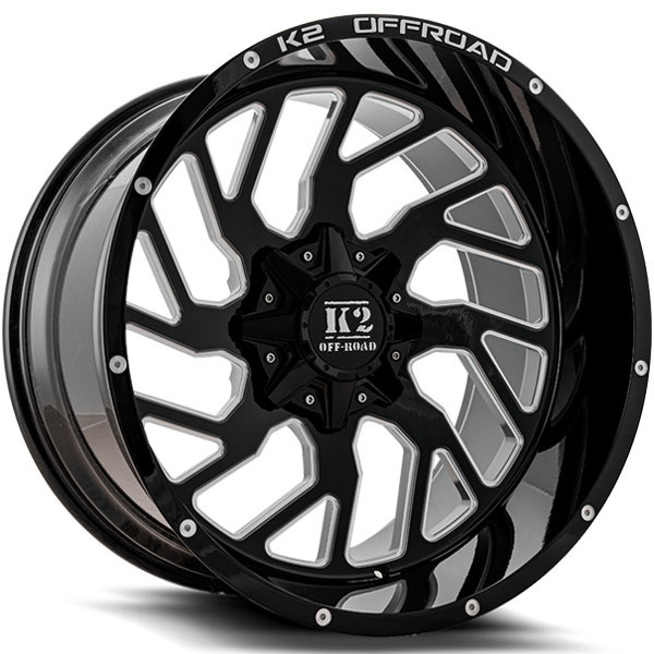 K2 OffRoad K12 Shockwave Gloss Black with Milled Spokes