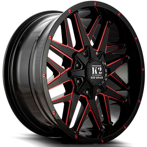 K2 OffRoad K15 Mayhem Gloss Black with Red Milled Spokes