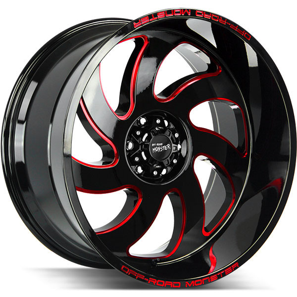 Off-Road Monster M07 Gloss Black with Red Milled Spokes