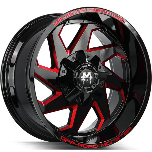 Off-Road Monster M09 Gloss Black with Red Milled Spokes