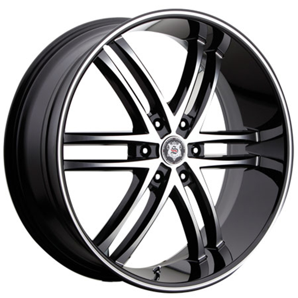 Sevizia SE-425 Black with Machined Face and Stripe 6 Lug