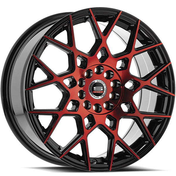 Spec-1 SP-52 Gloss Black with Red Milled Spokes