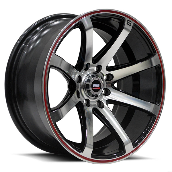 Spec-1 SPT-17 Gloss Black with Machined Face and Red Stripe